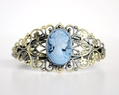 Antique Gold and Matte Blue Lady Cameo Cuff Bracelet - Neovictorian Inspired Jewelry - Downton Abbey Gift Idea