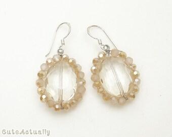 White cream crystal earrings with sterling silver ear wires, dangle earrings
