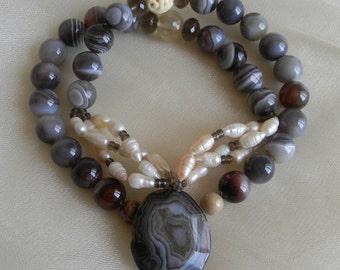Banded agate pendant w Botswana agate beads necklace , beaded jewelry , smoky quartz & baroque pearls , agate jewelry , large beads necklace