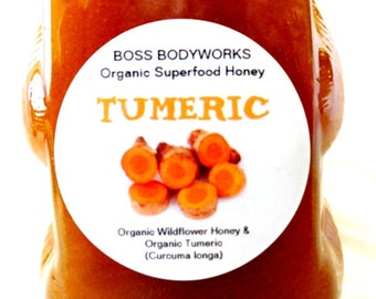 TURMERIC Organic Herbal Infused Honey -12oz- Curcuma longa raw wildflower honey, non-GMO, fair trade