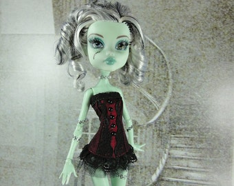 Gothic burlesque burgundy and black corset hand made fits Monster High doll