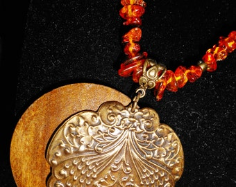 Baltic Amber, Wood, and Brass Pendant Necklace