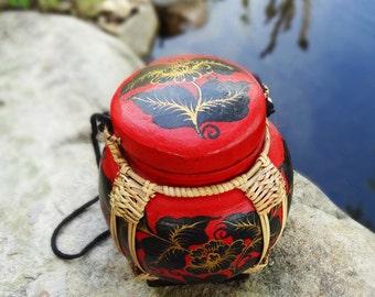 Decorative Hand Painted Bamboo Basket, Rice Box, Tea Box, Coffee Box, Storage Box, Sugar Box, Storage, Red Box, Wooden Box, Small Box, Box