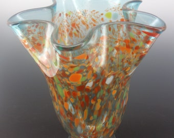 Hand Blown Glass Footed Vase