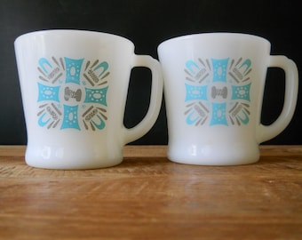 Vintage Fire King Blue Heaven Mugs