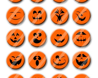 Jack-O-Lantern Pumpkin Face Halloween Theme Party Favors set of 20 1.25 inch Pin back Buttons