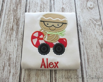 Cute Gingerbread Boy With Candy Cane Car Appliqued Shirt - Embroidered Shirt, Holiday, Christmas, Boys, Girls, Personalized, Monogram