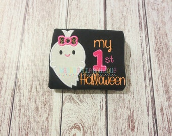 Girly My First Halloween Appliqued Shirt - Embroidered Shirt, Halloween, Ghost, My First Halloween, Baby's First Halloween, Girly Ghost