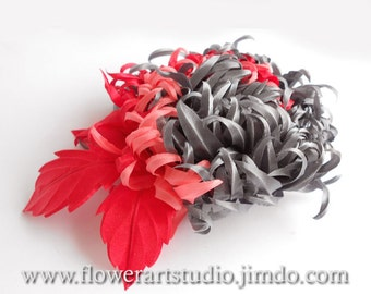 Three color fabric flower, bridal brooch or hair clip, grey and red flower for sash, flower hair clip, mother of a bride grey silk flower.