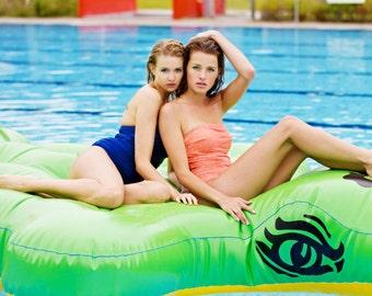Swimsuit Bathing dress petrol blue Bathers togs, bathing costume in ocean blue