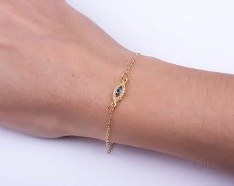 """Evil eye bracelet, Personalized gold filled bracelet, Evil eye jewelry, cubic zirconia bracelet, protection bracelet, lucky bracelet, """"Beroe"""