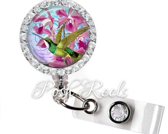 Retractable ID Badge Reel - Hummingbird Bling Rhinestone Badge ID Reel - 0951