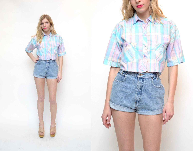 80s 90s Plaid Crop Top Shirt // Pastel Blue Pink Gingham