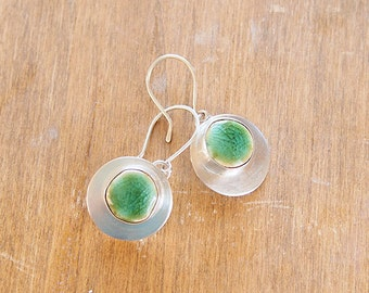 Small ceramic and sterling silver dangle earrings with green and teal glaze - Small Round Cenote Earrings