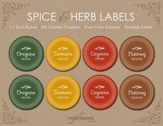 Editable Spice Jar Labels // DIY Printable Kitchen Labels // Round ...