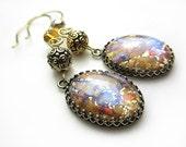 Opal Czech Glass Earrings Golden Amber Antique Gold Earrings Topaz Earrings Vintage Style Victorian Style Earrings Antique Amethyst Earrings
