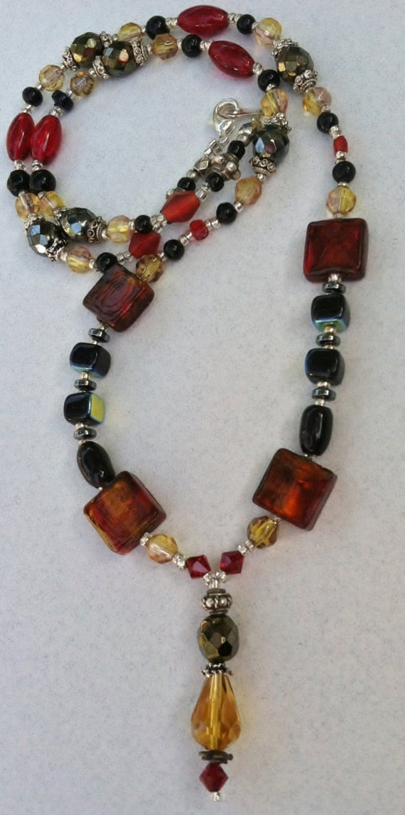 OOAK Red Black Gold Beaded Necklace
