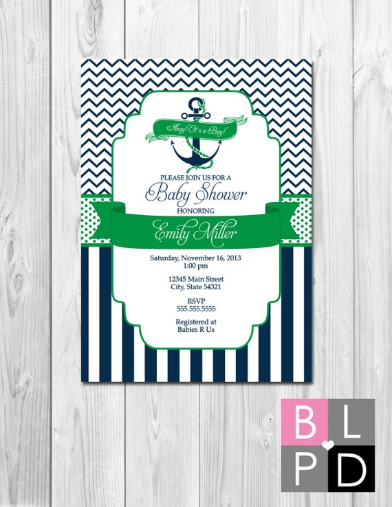 Nautical Baby Shower Invitation  Ahoy Its A Boy  Navy and Green