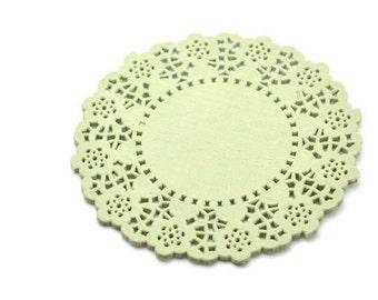 "4.5"" Matcha Green Round Paper Doilies x 20"