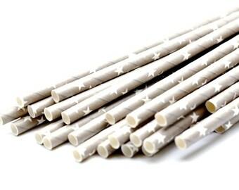 B20 Paper Straw. Stars. Gray. White