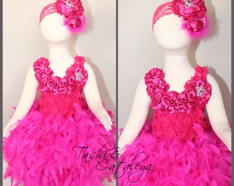 OOAK Hot pink lace feather dress satin flowers headband pageant holiday dress vintage tutu photo prop cake smash birthday baby girl toddler