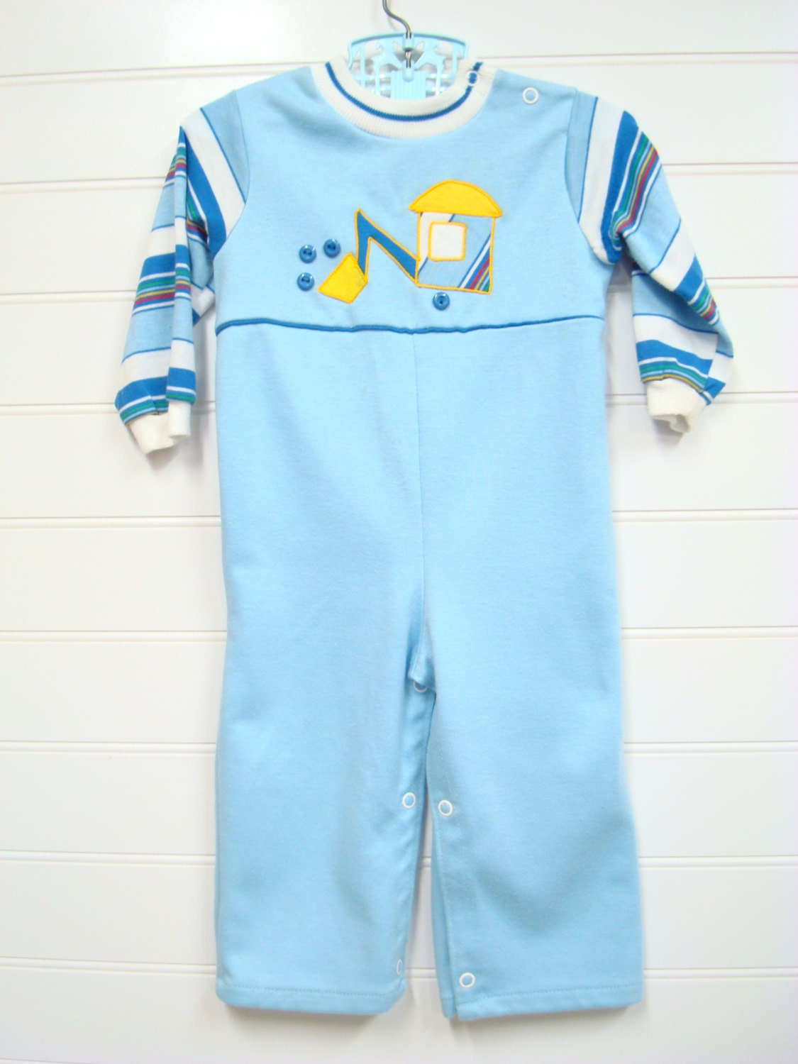 vintage baby clothes baby boy romper in shades of blue