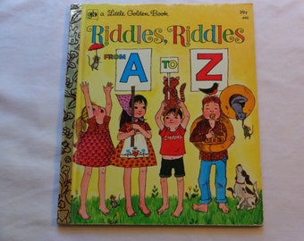 """Vintage Little Golden Book, """"Riddles, Riddles A to Z"""" by Carl Memling, Pictures by Trina Schart, 1972."""