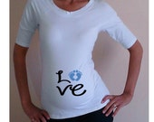 """Funny, maternity Shirt """"Love"""" with footprints, maternity clothes, Maternity tee"""