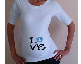 "Funny, maternity Shirt ""Love"" with footprints, maternity clothes, Maternity tee"