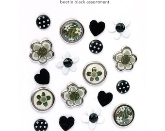 Black Boutique Brads - SAVE 60% - 18 pieces - 6 Different Styles for Cards, Tags, Scrapbooks - Doodlebug Design fasteners