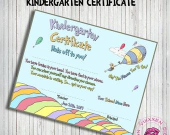 DR. SEUSS Oh The Places you'll go Kindergarten Certificate Blue ...