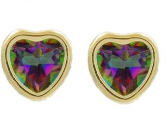 14Kt Yellow Gold Mystic Topaz Heart Bezel Stud Earrings