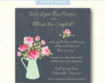 Wedding Invitation, vow renewal, anniversary, 5x5 square invite, 25th, 50th, 40th, rehearsal, casual, country, digital, W8072