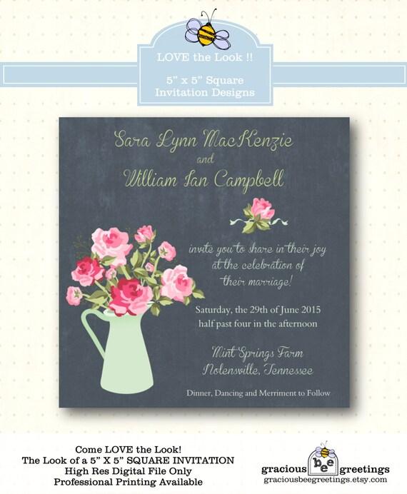 Wedding Invitation vow renewal anniversary 5x5 square