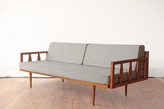 Wood Frame Mid Century Sofa Blue Grey Cushions