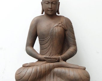 4ft vintage lifesize seated buddha statue hand carved stone earth brown masterpiece sculpture