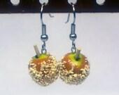 Caramel Apple Earrings, Miniature Food Jewelry, Polymer Clay