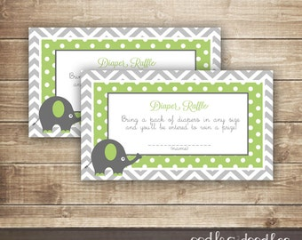 Diaper Raffle Ticket  / Chevron & Elephant Baby Shower / Green and Gray Gender Neutral Shower Raffle Tickets - INSTANT DOWNLOAD - Printable