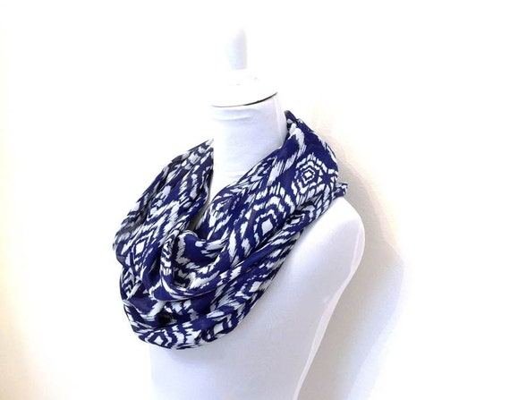 Blue Scarf, Blue and White Infinity Scarf, Ikat Print Scarf, Lightweight Chiffon Scarf, Infinity Scarves, Fall Winter Dark Blue