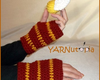 Handmade Crocheted Fingerless Gloves Mittens Mitts Gryffindor Harry Potter Inspired (Free Quidditch Goldlen Snitch)