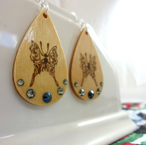 Made to Order Earrings with Butterflies and Blue and Grey Swarovski Elements Crystals