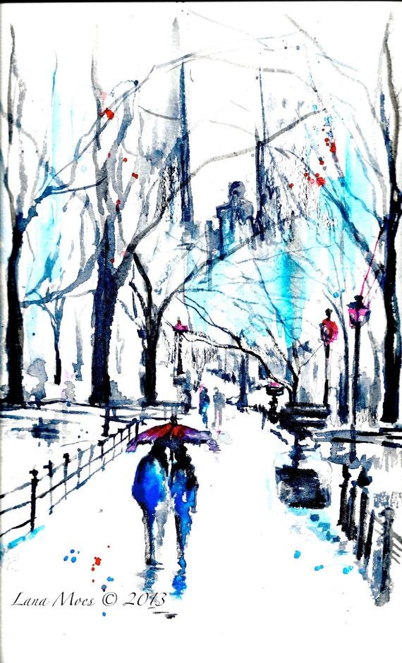 Love romance red umbrella central park original