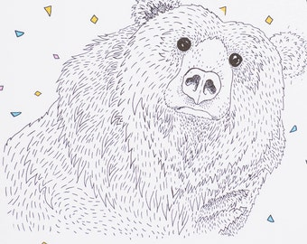 Hello There Bear // Illustrated Print // A5 - 5x8 // A4 - 8x10