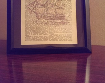 Antique Dictionary Art Print (Sailboat)