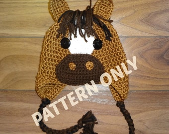 Horse Hat Crochet PATTERN, PDF, 6 Sizes, Instant Download