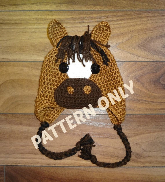 Crochet Pattern Free Horse : Horse Hat Crochet PATTERN PDF 6 Sizes Instant Download