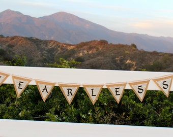 FEARLESS Burlap and Book Page Classic Literature Paper Burlap Decoration Bedroom Decoration Party Decoration Affirmation Word Banner Brave