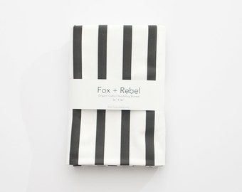 Organic Cotton Baby Blanket Modern Black and White Stripes - READY TO SHIP