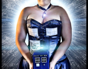TARDIS overbust corset- made to order
