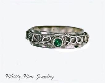 Fine Silver Filigree Ring with Green Stone, One of a Kind; size 7